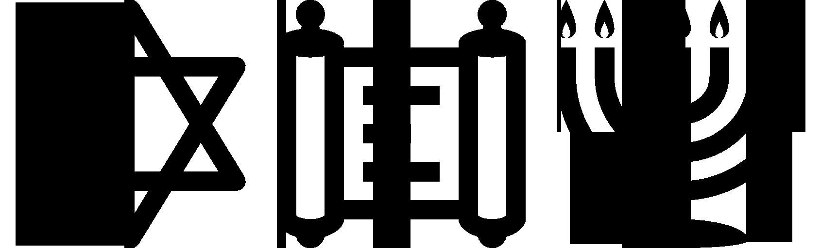 star of david, torah and menorah icons